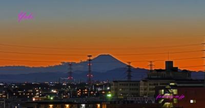 日暮の富士山